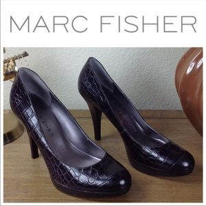 Marc Fisher Brown Leather Round Toe Platform Heels